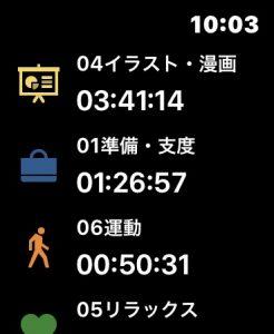 タイムログアプリの画面。かかった時間を細かく記録できます。